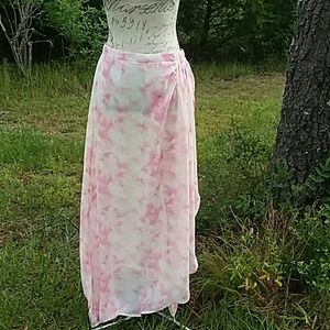 Cato Long White & Pink Skirt Size S